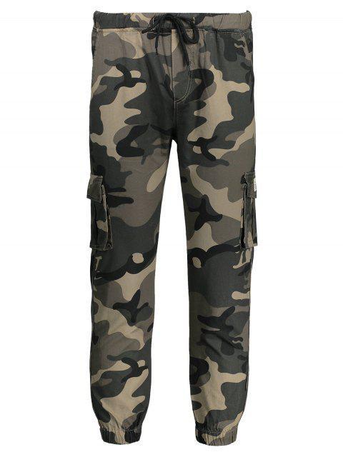 trendy Drawstring Camouflage Jogger Pants - KHAKI 2XL Mobile