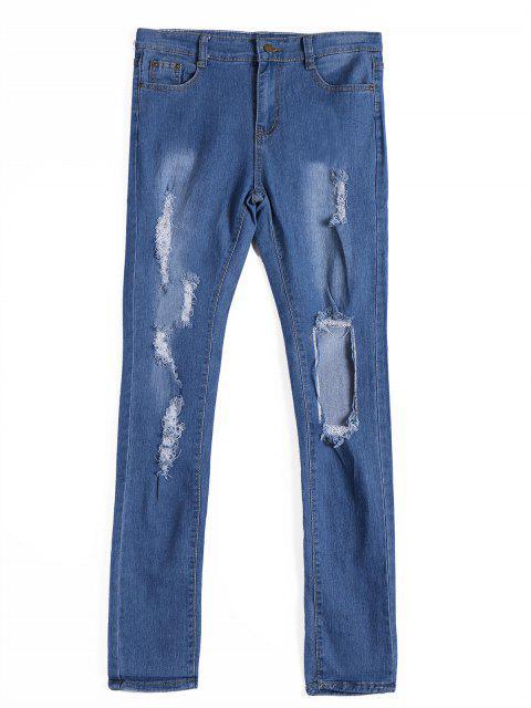 Zipper Fly Ripped Jeans - Denim Bleu M Mobile