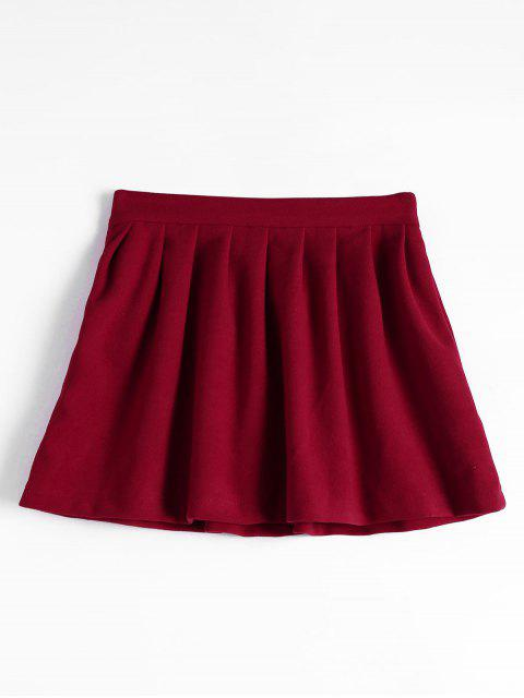 new High Waist Pleated Flare Skirt - DEEP RED L Mobile