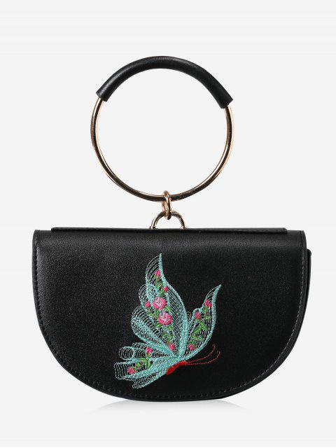 chic Metal Ring Embroidery Tote Bag - BLACK AND GREEN  Mobile