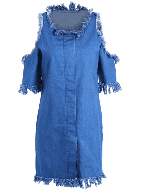 outfits Cut Out Frayed Denim Dress - BLUE 3XL Mobile