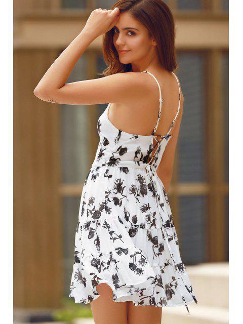 women Floral Print Tiered Chiffon Swing Dress - WHITE S Mobile