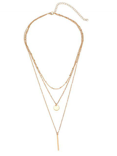 ladies Bar Round Disc Pendant Layered Necklace - GOLDEN  Mobile