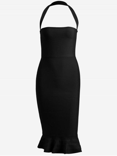 unique Halter Fitted Bandage Dress - BLACK S Mobile