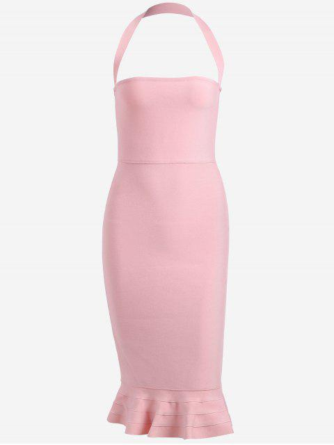sale Halter Fitted Bandage Dress - PINK L Mobile