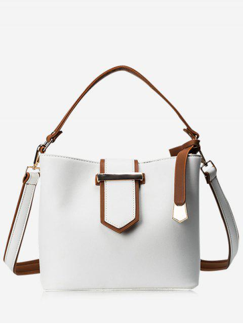 new Colour Block Metal Embellished Tote Bag - WHITE  Mobile