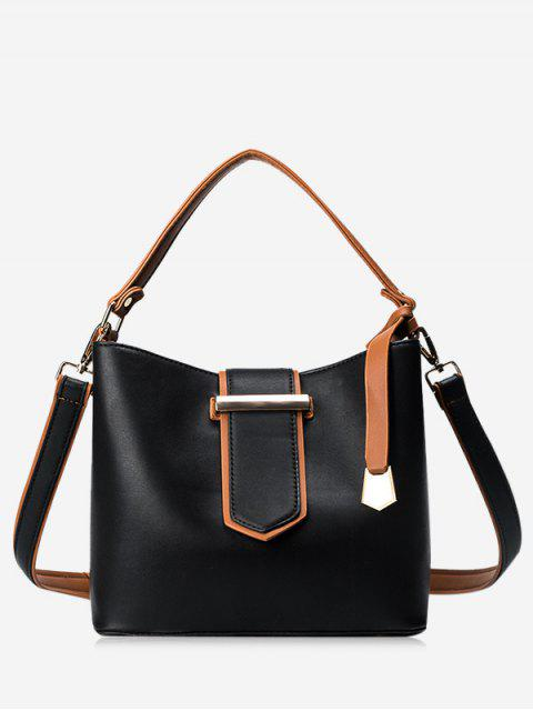 hot Colour Block Metal Embellished Tote Bag - BLACK  Mobile