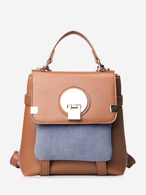 affordable Color Block Metal Embellished Backpack - BROWN  Mobile