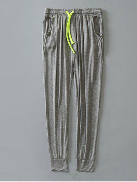 womens Contrast Drawstring Sweatpants - LIGHT GRAY L Mobile