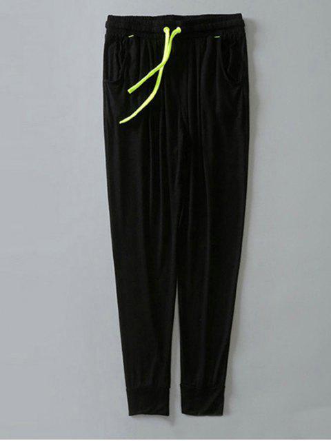 hot Contrast Drawstring Sweatpants - BLACK L Mobile