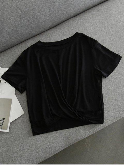 Twist Cropped T-shirt - Noir L Mobile