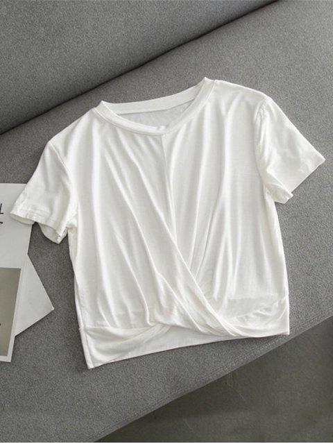Twist Cropped T-shirt - Blanc L Mobile