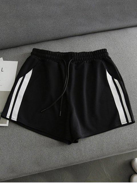 fancy Side Striped Sports Shorts - BLACK M Mobile