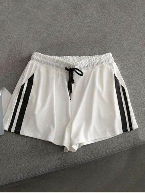 trendy Contrast Sides Running Shorts - WHITE M Mobile