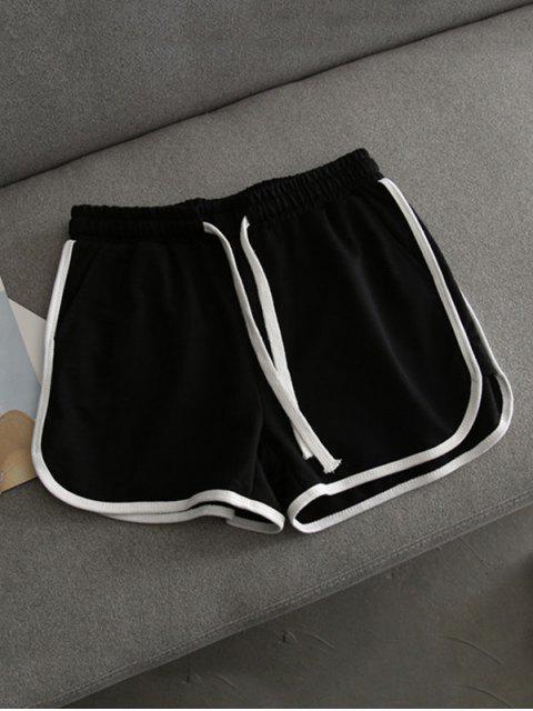 ladies Contrast Trim Running Shorts - BLACK S Mobile