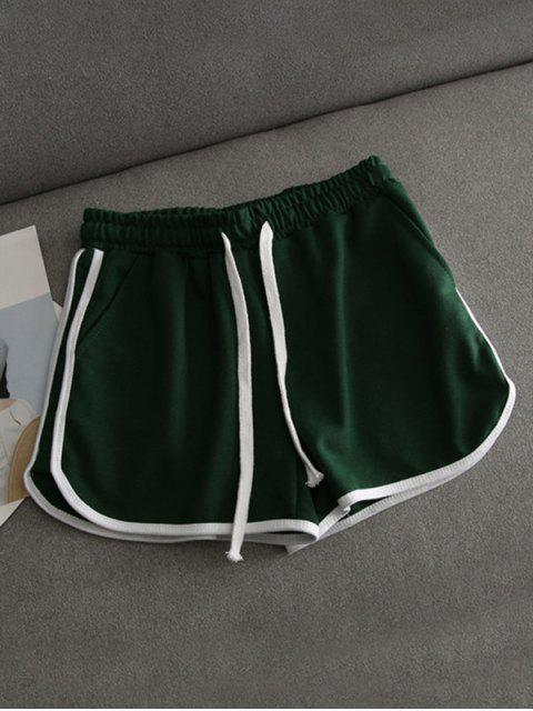 outfit Contrast Trim Running Shorts - GREEN S Mobile