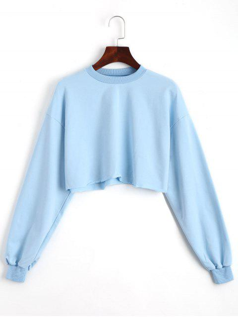 shop Sporty Cropped Sweatshirt - SKY BLUE ONE SIZE Mobile