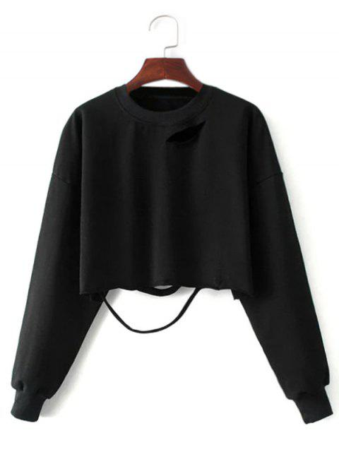 latest Ripped Cropped Sweatshirt - BLACK ONE SIZE Mobile
