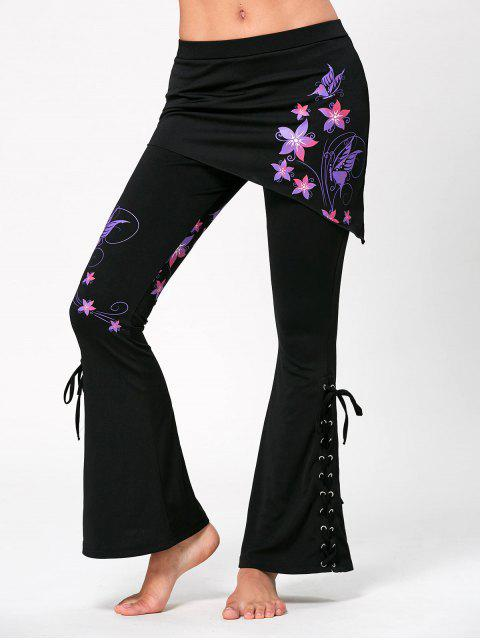 ladies Criss Cross Bottom Flower Butterfly Print Flare Pants - BLACK S Mobile