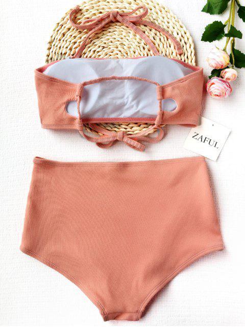 best Ribbed Texture Bandeau High Waisted Bikini - SHALLOW PINK S Mobile