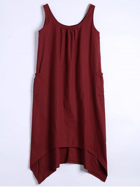 U-Ausschnitt Ärmelloses Asymmetrisches Kleid - Dunkelrot M Mobile