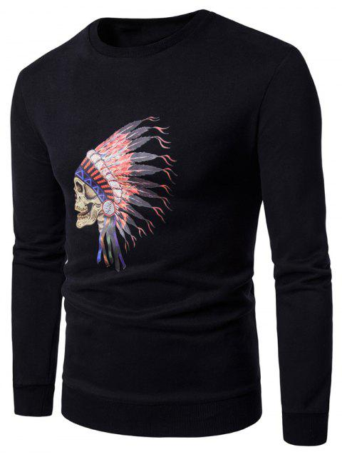 shop Crew Neck Skull Chief Print Fleece Sweatshirt - BLACK M Mobile