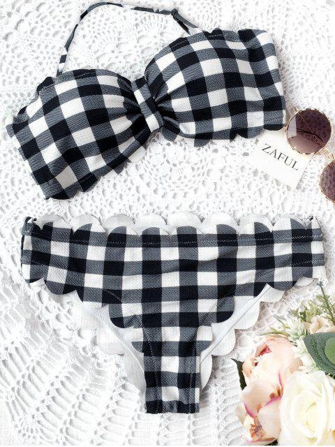 shop Scalloped Checked Bandeau Bikini - PLAID M Mobile