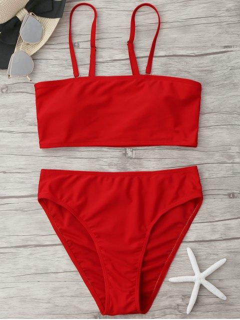 new Padded High Cut Bandeau Bikini Set - RED L Mobile