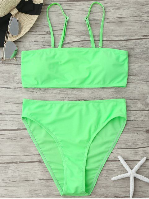 womens Padded High Cut Bandeau Bikini Set - NEON GREEN L Mobile