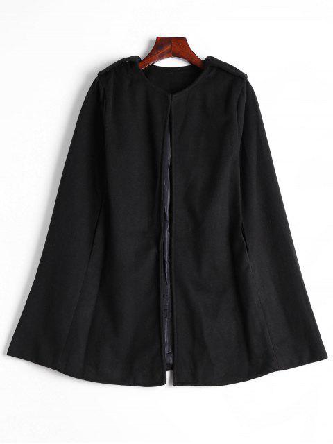latest Plain Cape Coat - BLACK L Mobile