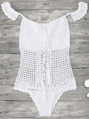 Off Shoulder Crochet One Piece Swimwear - White