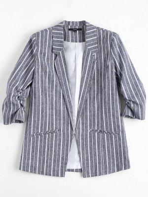 Gathered Sleeve Stripes Blazer - Stripe L