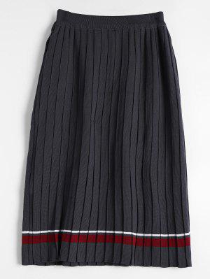 High Waist Striped Knitted Pleated Skirt - Gray