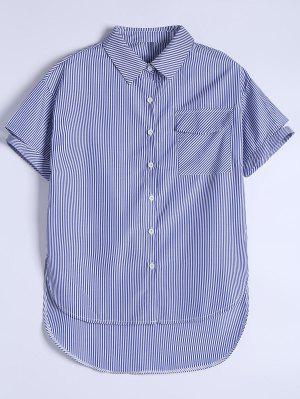 Pocket Button Up Striped Shirt - Blue 2xl