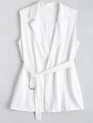 Long Belted Lapel Waistcoat - White M