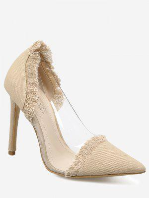 Stiletto Heel Fringe Denim Pumps - Apricot 40
