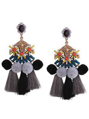 Pom Pom Tassel Pendant Earrings - Black