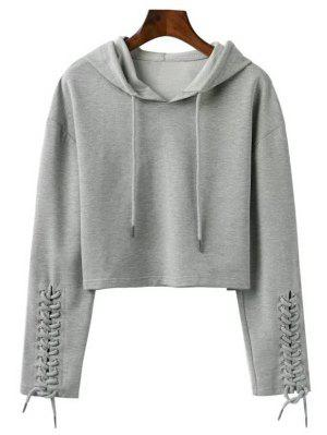 Cropped Lace Up Sleeve Sporty Hoodie - Gray M