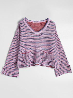 Plunging Neck Pockets Slit Contrast Sweater - Multi