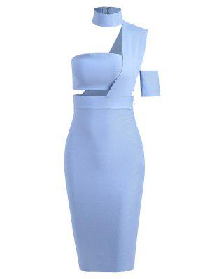 Bandeau Top And High Waist Skirt Set - Light Blue S