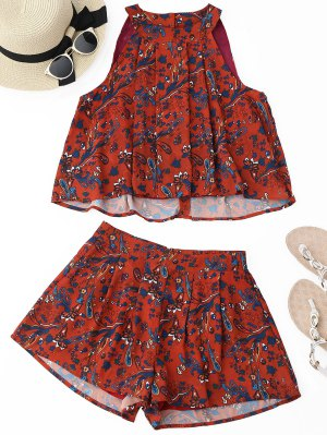 Printed Chiffon Top And Shorts Set - Red - Red M