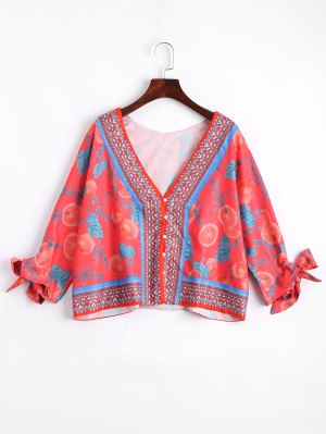 Loose Button Up Fruit Print Blouse - Red S