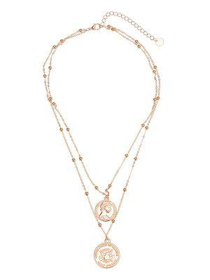 Coin Engraved Peace Dove Layered Necklace - Golden