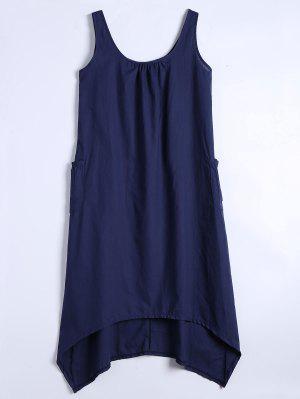 U Neck Sleeveless Asymmetric Dress - Purplish Blue 2xl