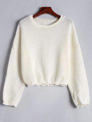 Drop Shoulder Plain Pullover Sweater - Off-white Xl