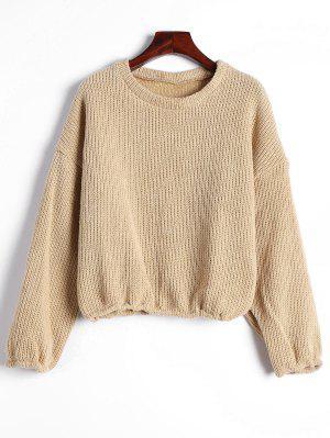 Drop Shoulder Plain Pullover Sweater - Khaki Xl