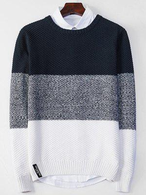 Crew Neck Color Block Popcorn Knitted Sweater