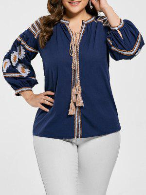 Plus Size Floral Embroidered Tassel Blouse