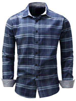 Turndown Collar Tartan Chambray Shirt