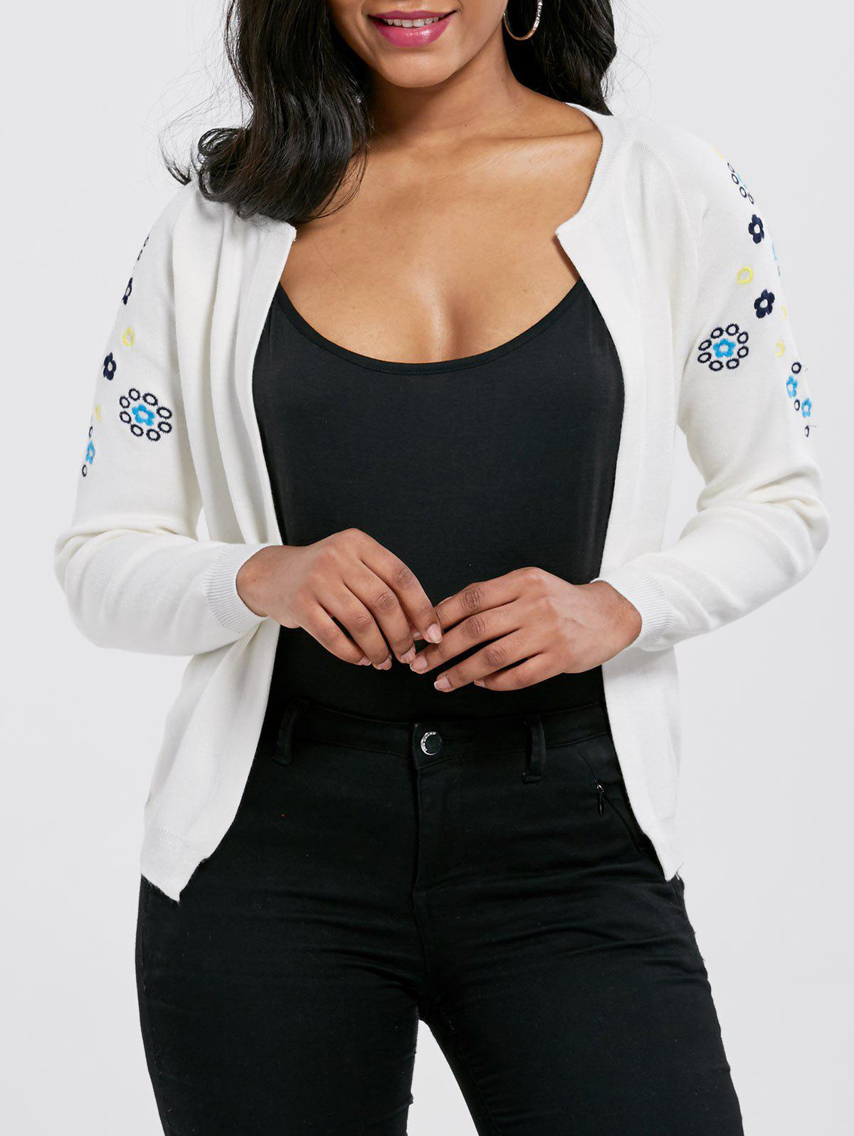 Embroidered Ribbed Cardigan 221714903